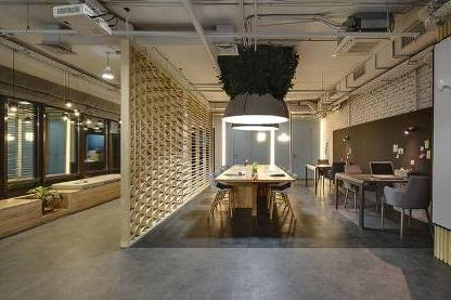 office space with polished concrete flooring