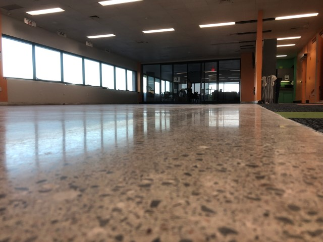 concrete floor after polishing