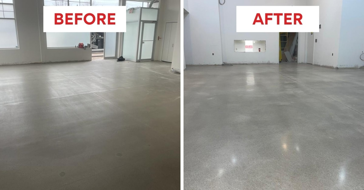 Image depicts before and after images from our concrete polishing project for a Vape Store in Wasaga Beach