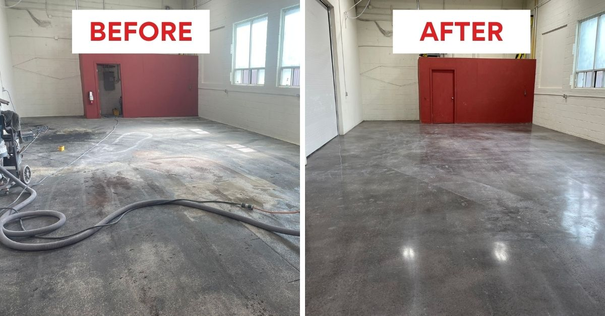 Image depicts before and after pictures from a polishing and staining project in MIssissauga completed by Polished Floors.