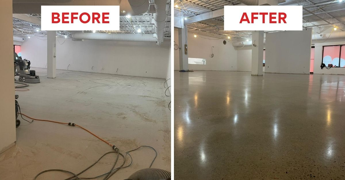 Image dpeicts before and after images from our concrete polishing for a retail store in Oshawa project.