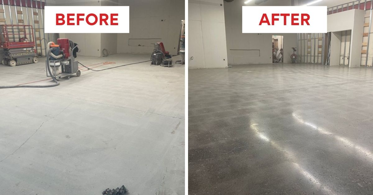 Image depicts before and after pictures from a concrete polishing project in a Milton warehouse.