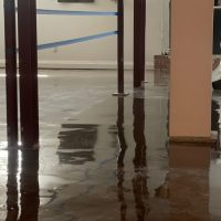 Image depicts a basement floor in a Milton home from our basement clear epoxy Milton project