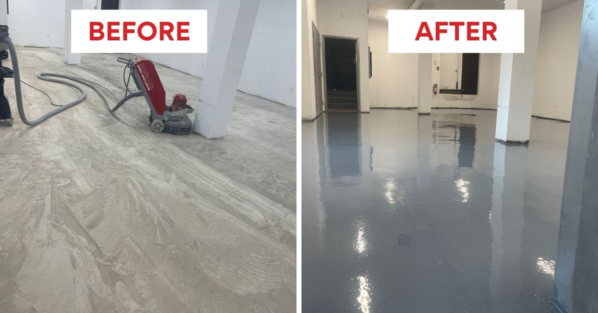 Image depicts before and after images from a commercial grade epoxy floors in Milton project.