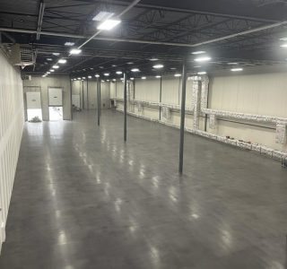 polished concrete with black stain project in toronto